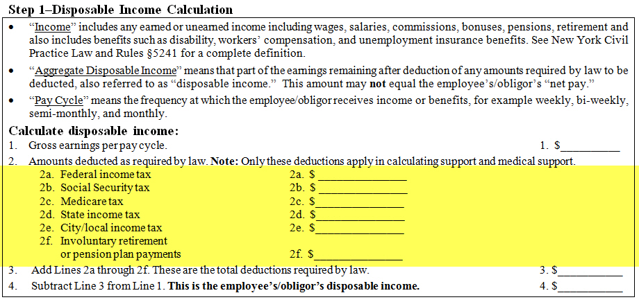 new york state law requires the following six deductions