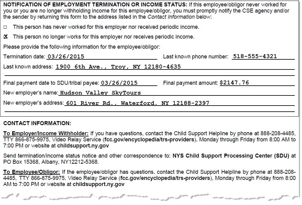 Printables Child Support Worksheet Ny nys dcse income withholding notice for support