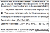 income withholding employee termination